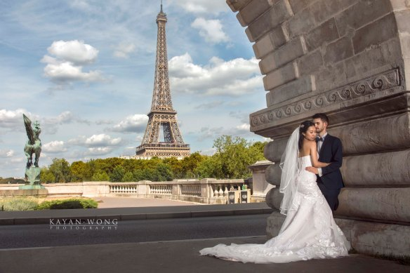 Mixed couple Eiffel Tower